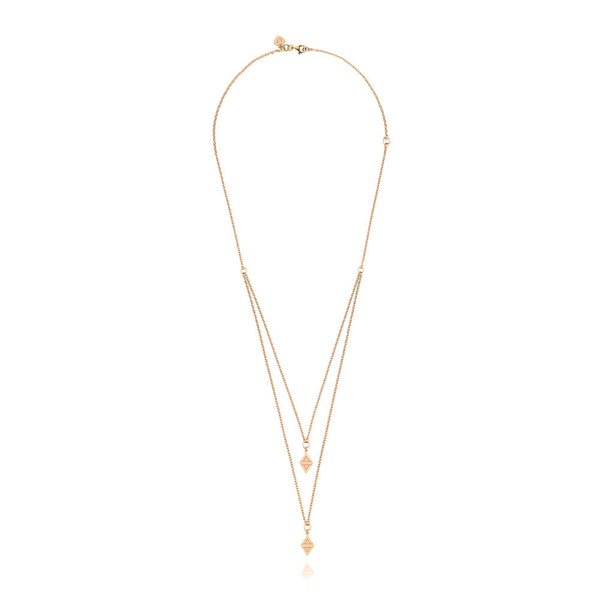 A New Dawn Double Drop Necklace - Rose Gold Plated Sterling Silver