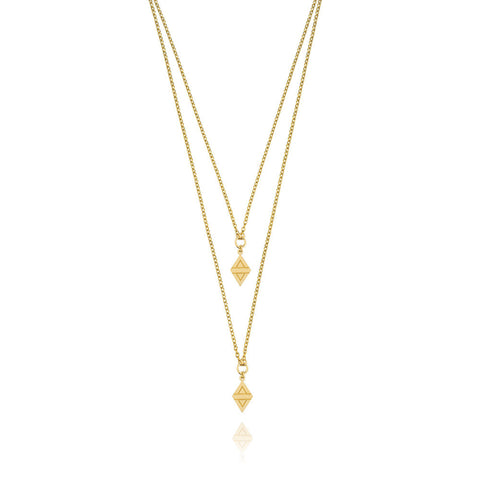 A New Dawn Double Drop Necklace - Yellow Gold Plated Sterling Silver