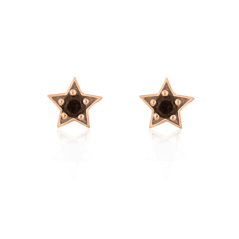 Twilight Stud Star Earrings Smokey Quartz - Rose Gold Plated Sterling Silver