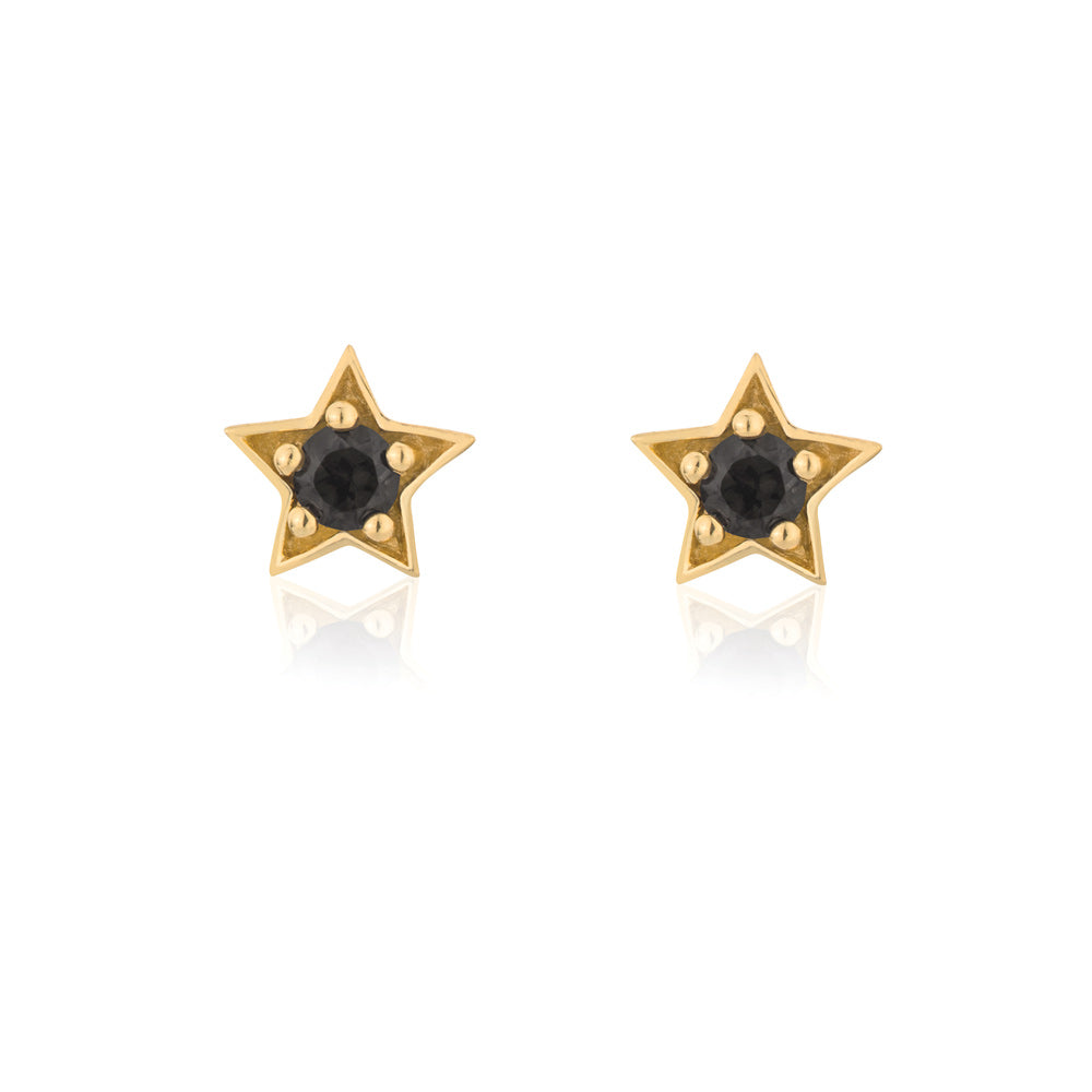 Twilight Stud Star Earrings Smokey Quartz - Yellow Gold Plated Sterling Silver