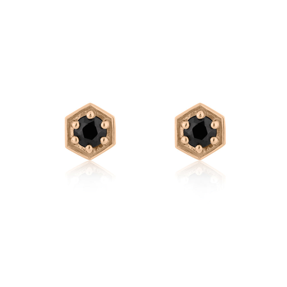 Sacred Stud Earrings Black Onyx - Rose Gold Plated Sterling Silver