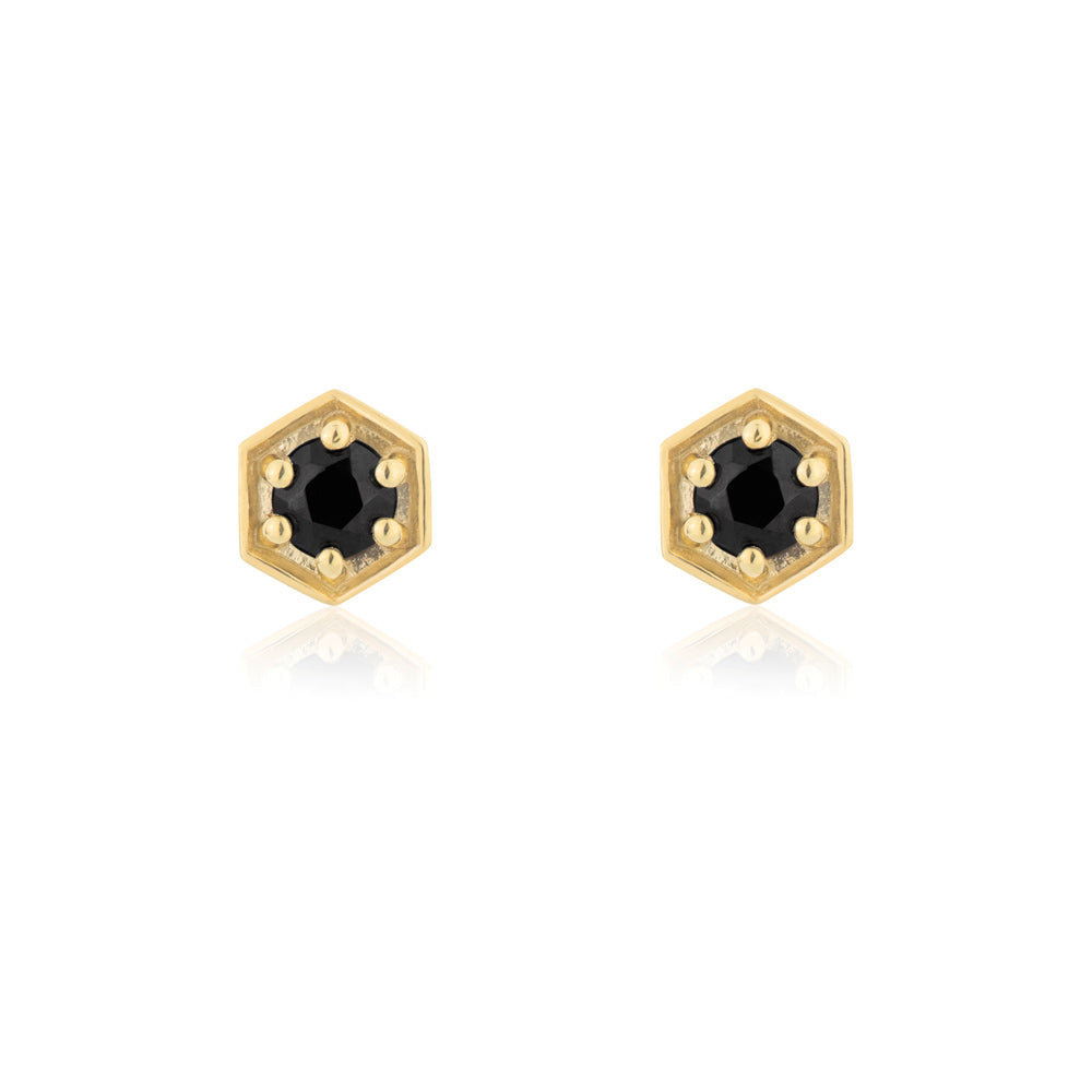 Sacred Stud Earrings Black Onyx - Yellow Gold Plated Sterling Silver