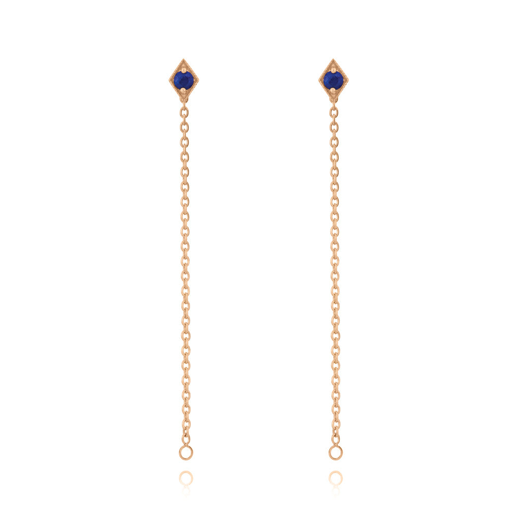 Into The Dusk Chain Earrings Lapis Lazuli - Rose Gold Plated Sterling Silver