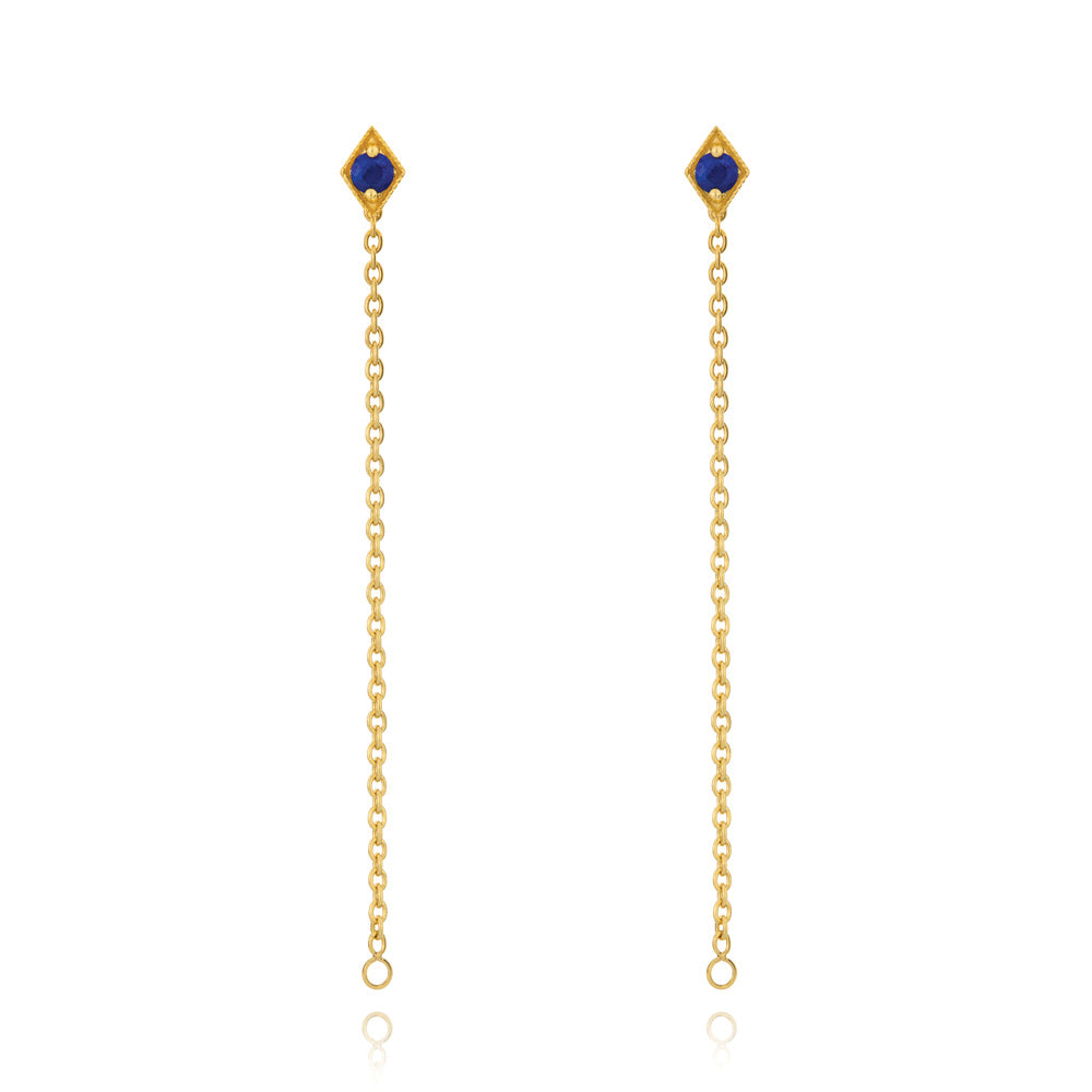 Into The Dusk Chain Earrings Lapis Lazuli - Yellow Gold Plated Sterling Silver