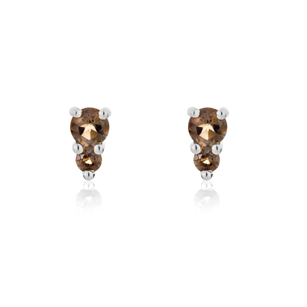 Binary Stud Earrings Smokey Quartz - Sterling Silver