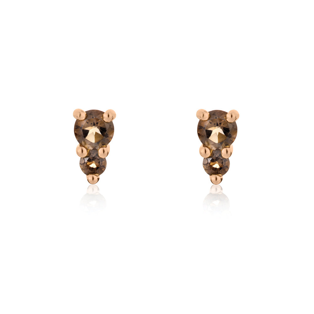 Binary Stud Earrings Smokey Quartz - Rose Gold Plated Sterling Silver