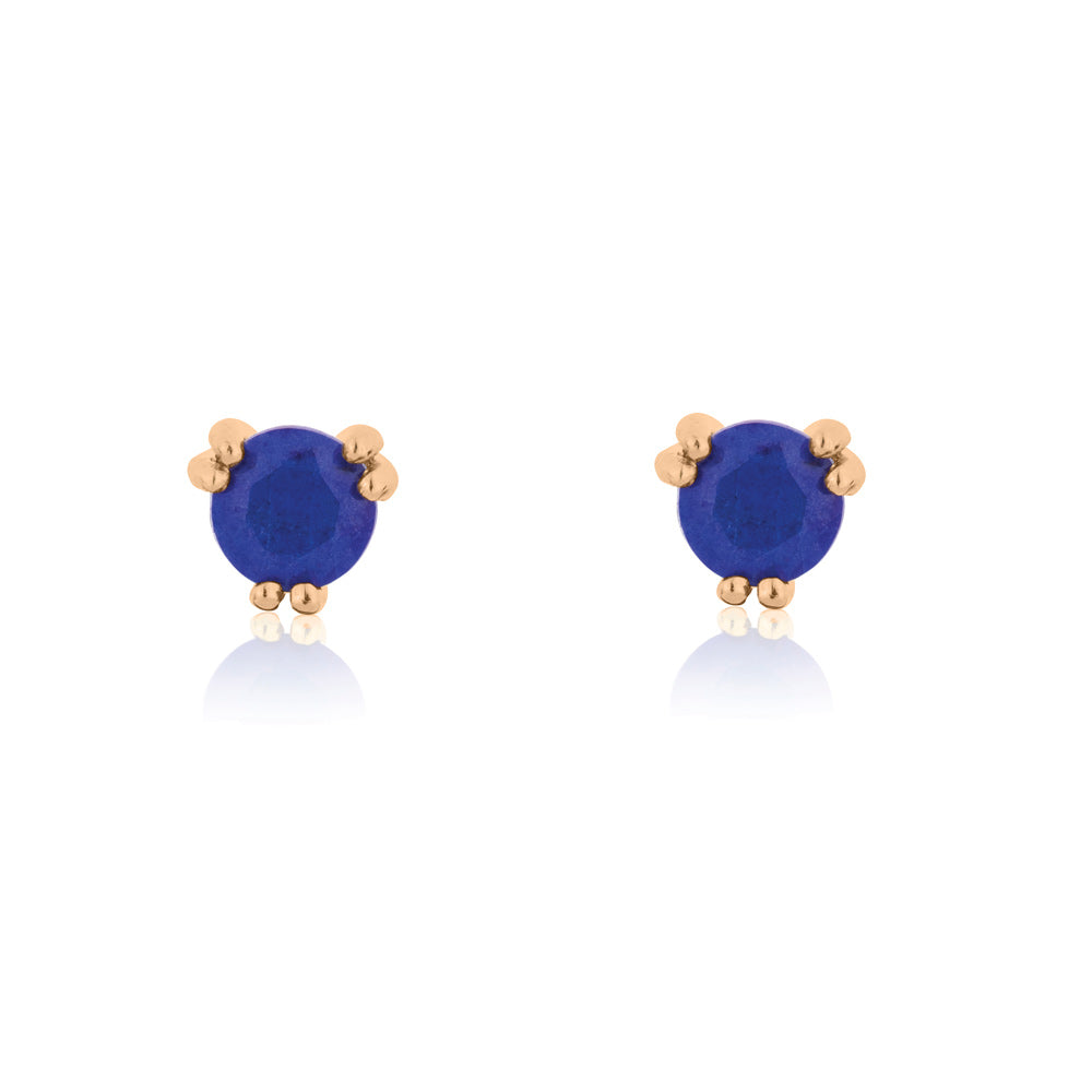 Maya Stud Earrings Lapis Lazuli - Rose Gold Plated Sterling Silver