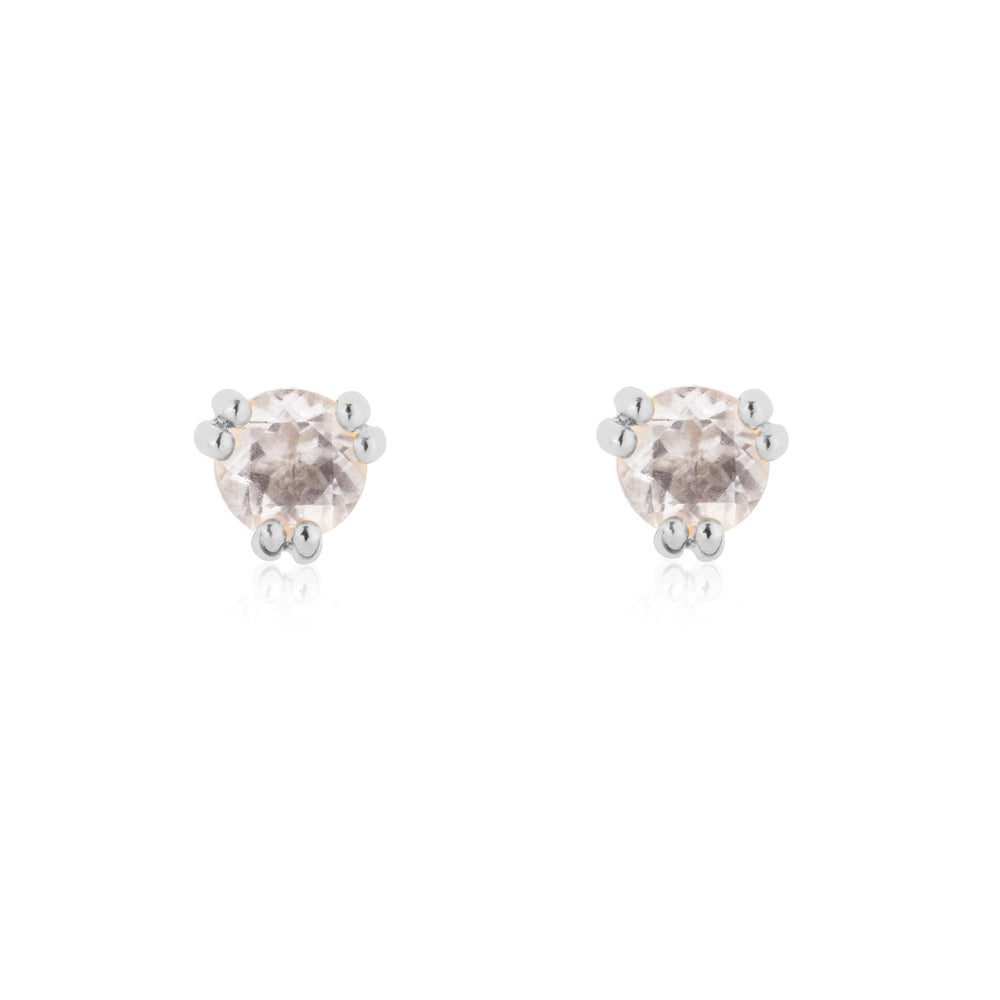 Maya Stud Earrings Rose Quartz - Sterling Silver