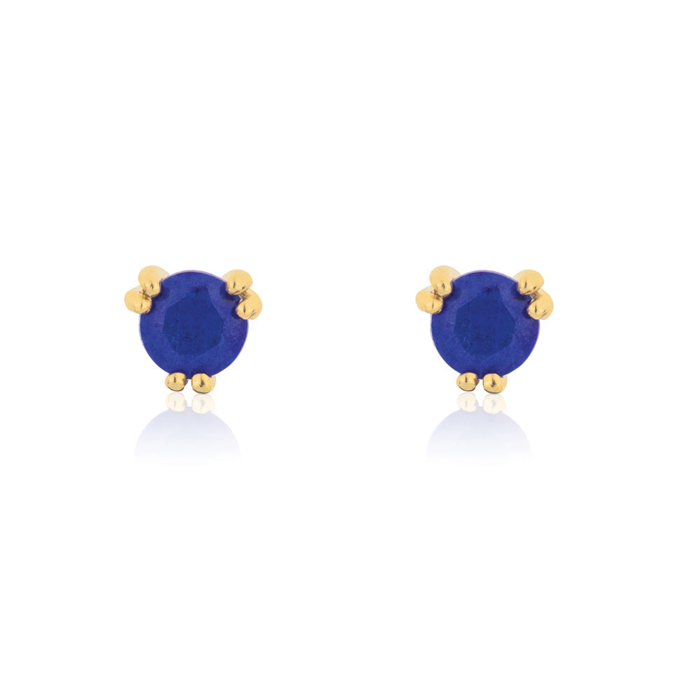 Maya Stud Earrings Lapis Lazuli - Yellow Gold Plated Sterling Silver