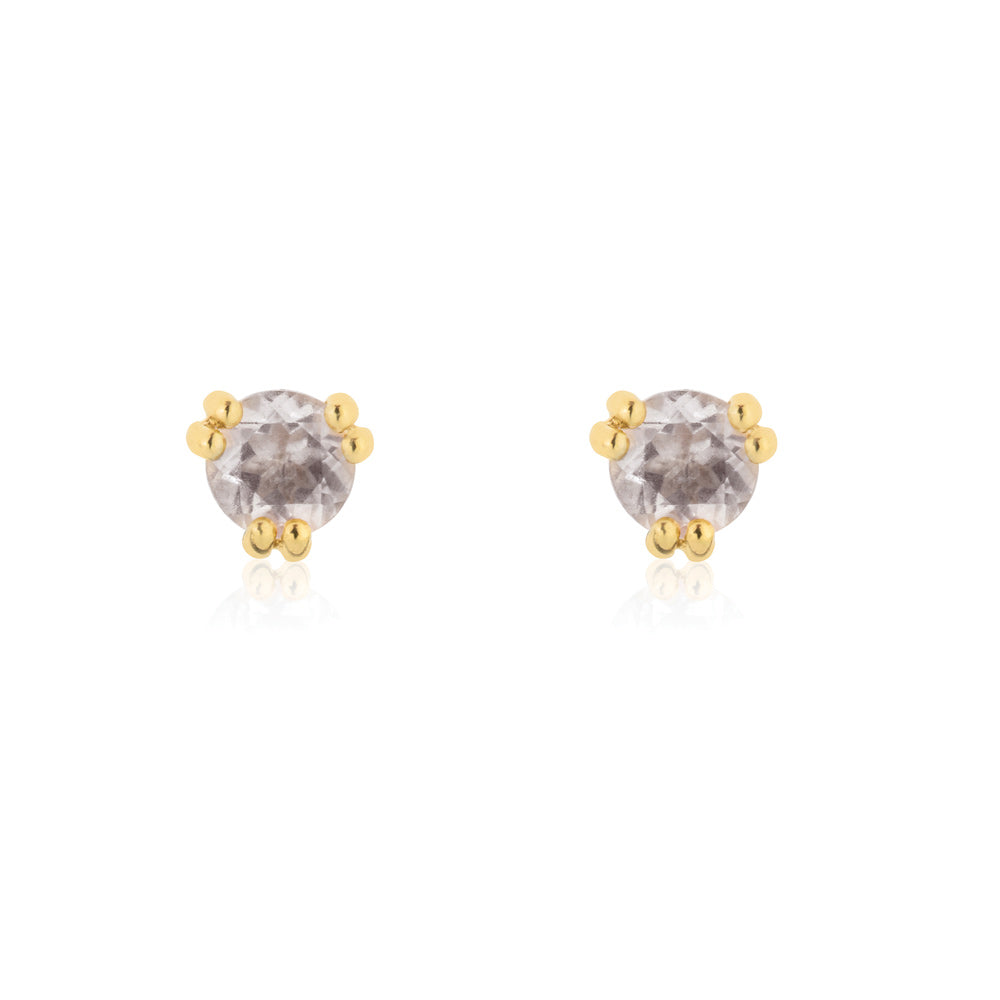 Maya Stud Earrings Rose Quartz - Yellow Gold Plated Sterling Silver