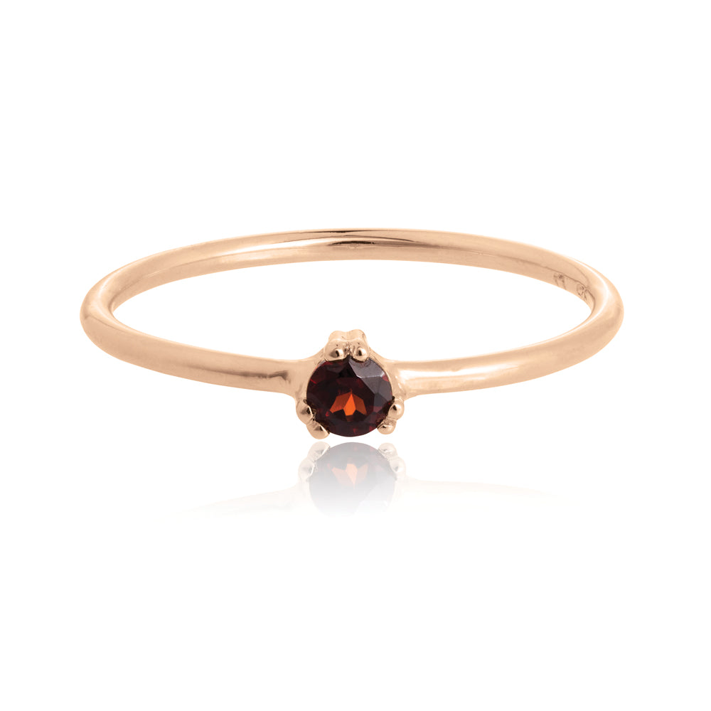 Maya Ring Garnet - Sterling Silver with Rose Gold Vermeil