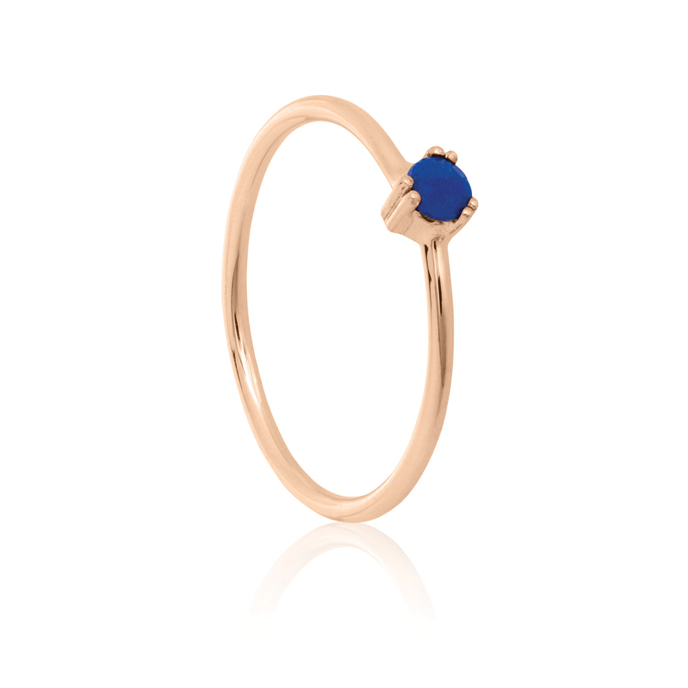 Maya Ring Lapis Lazuli - Sterling Silver with Rose Gold Vermeil