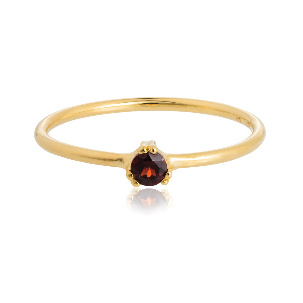 Maya Ring Garnet - Sterling Silver with Yellow Gold Vermeil