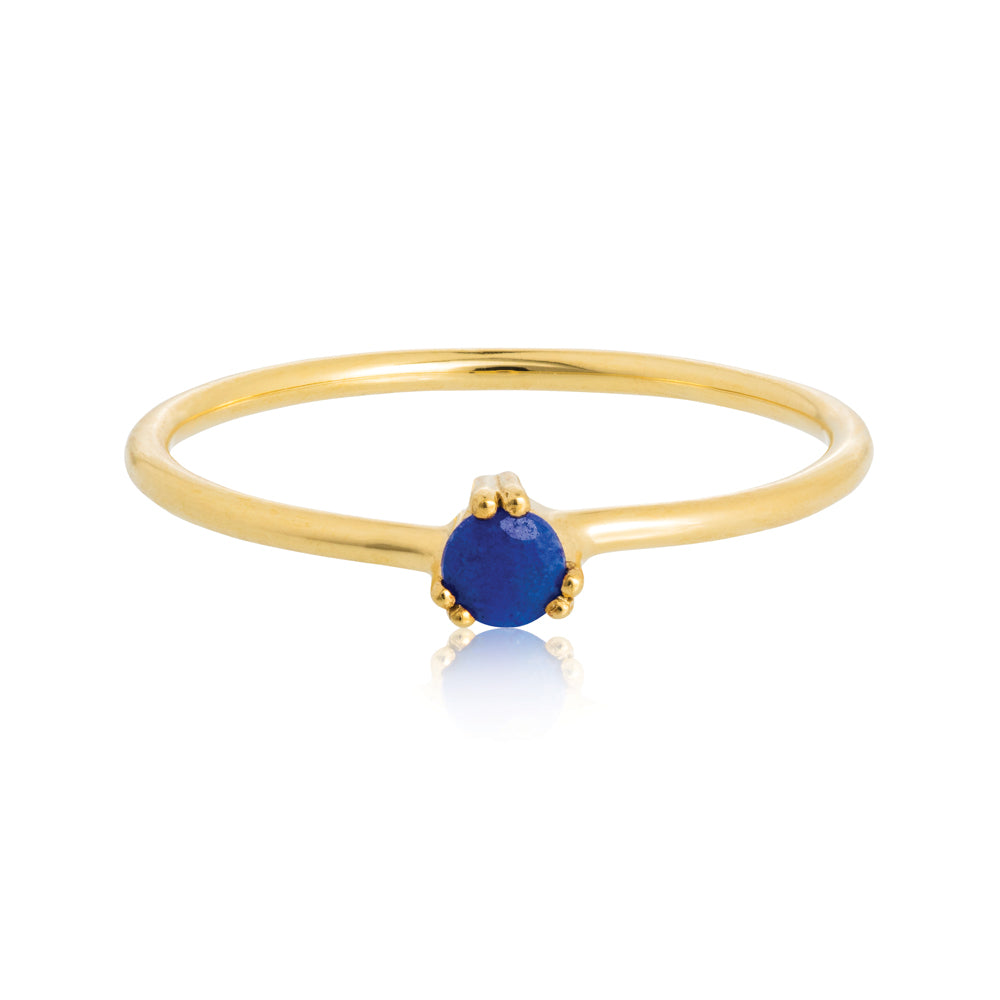 Maya Ring Lapis Lazuli - Sterling Silver with Yellow Gold Vermeil