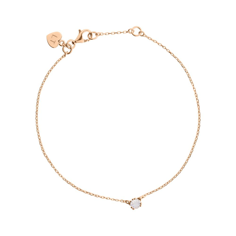Maya Stone Bracelet Rose Quartz - Rose Gold Plated Sterling Silver
