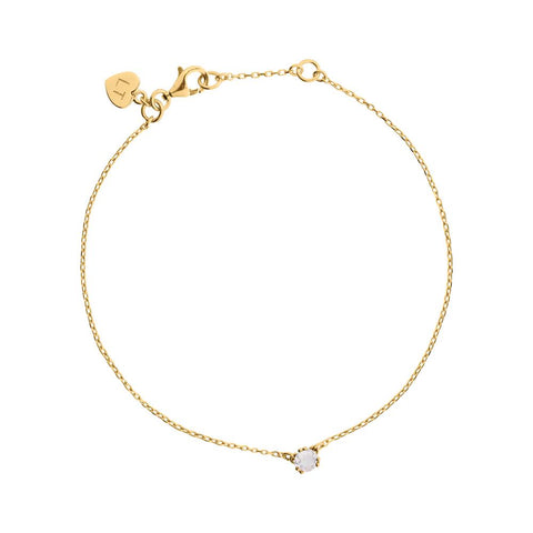 Maya Stone Bracelet Rose Quartz - Yellow Gold Plated Sterling Silver