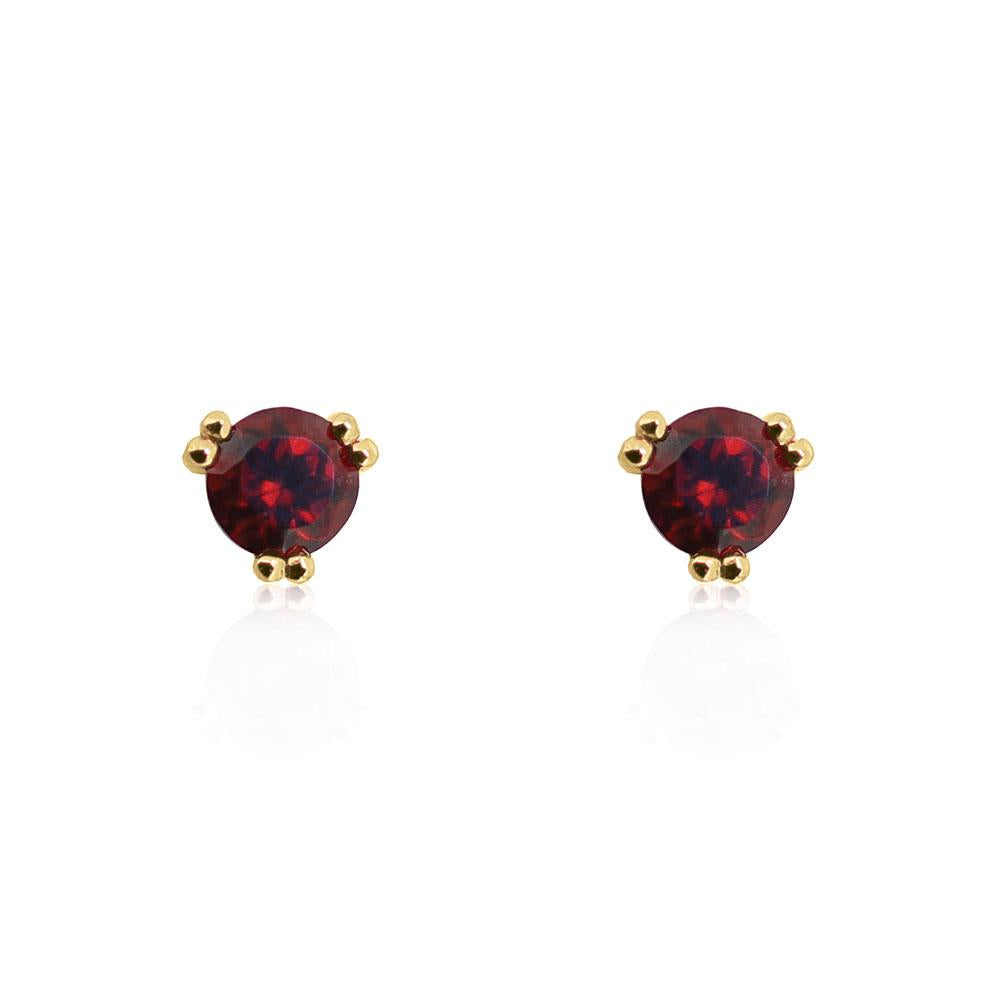 Maya Stud Earrings Garnet - Yellow Gold Plated Sterling Silver