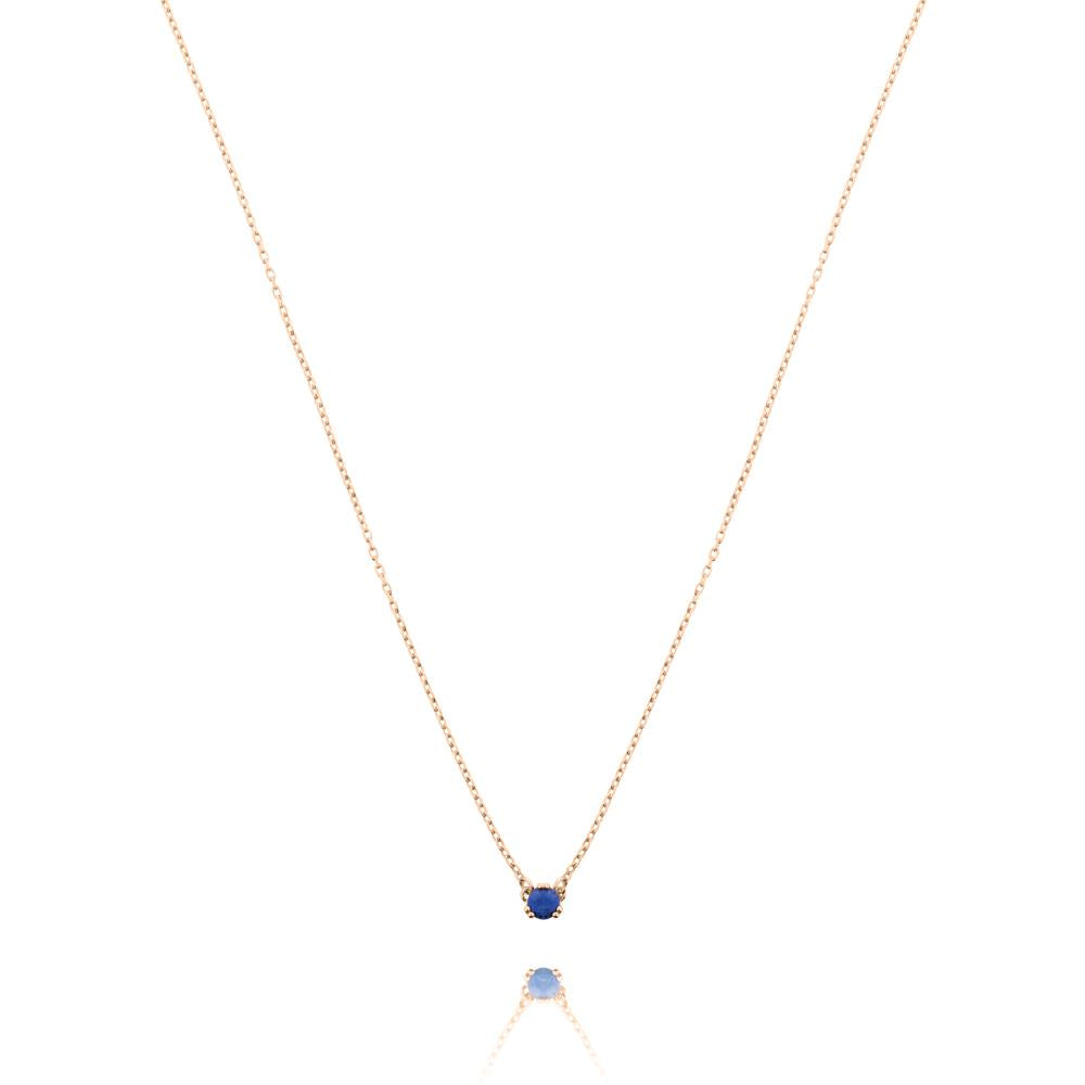 Maya Stone Necklace Lapis Lazuli - Rose Gold Plated Sterling Silver