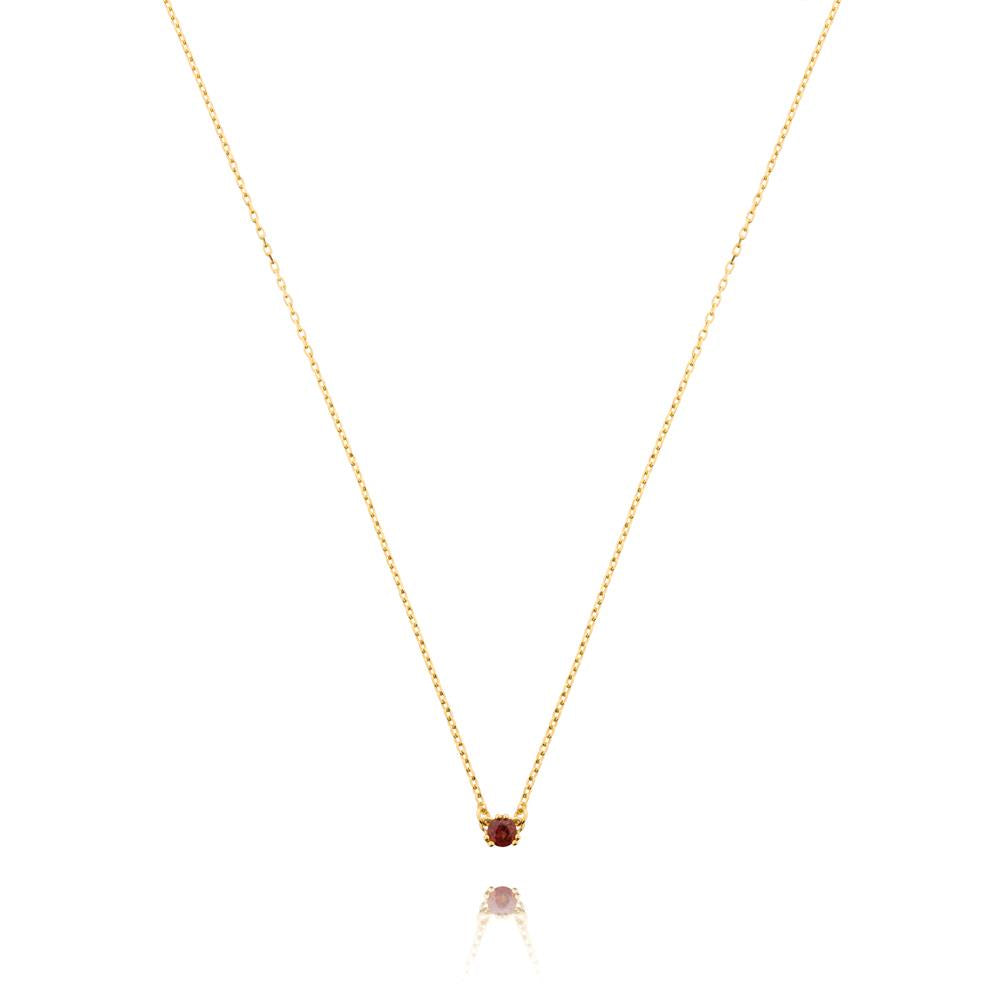 Maya Stone Necklace Garnet - Yellow Gold Plated Sterling Silver