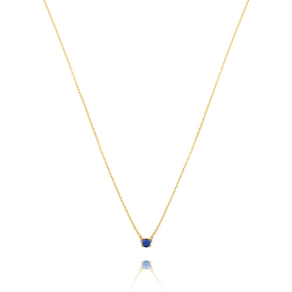 Maya Stone Necklace Lapis Lazuli - Yellow Gold Plated Sterling Silver