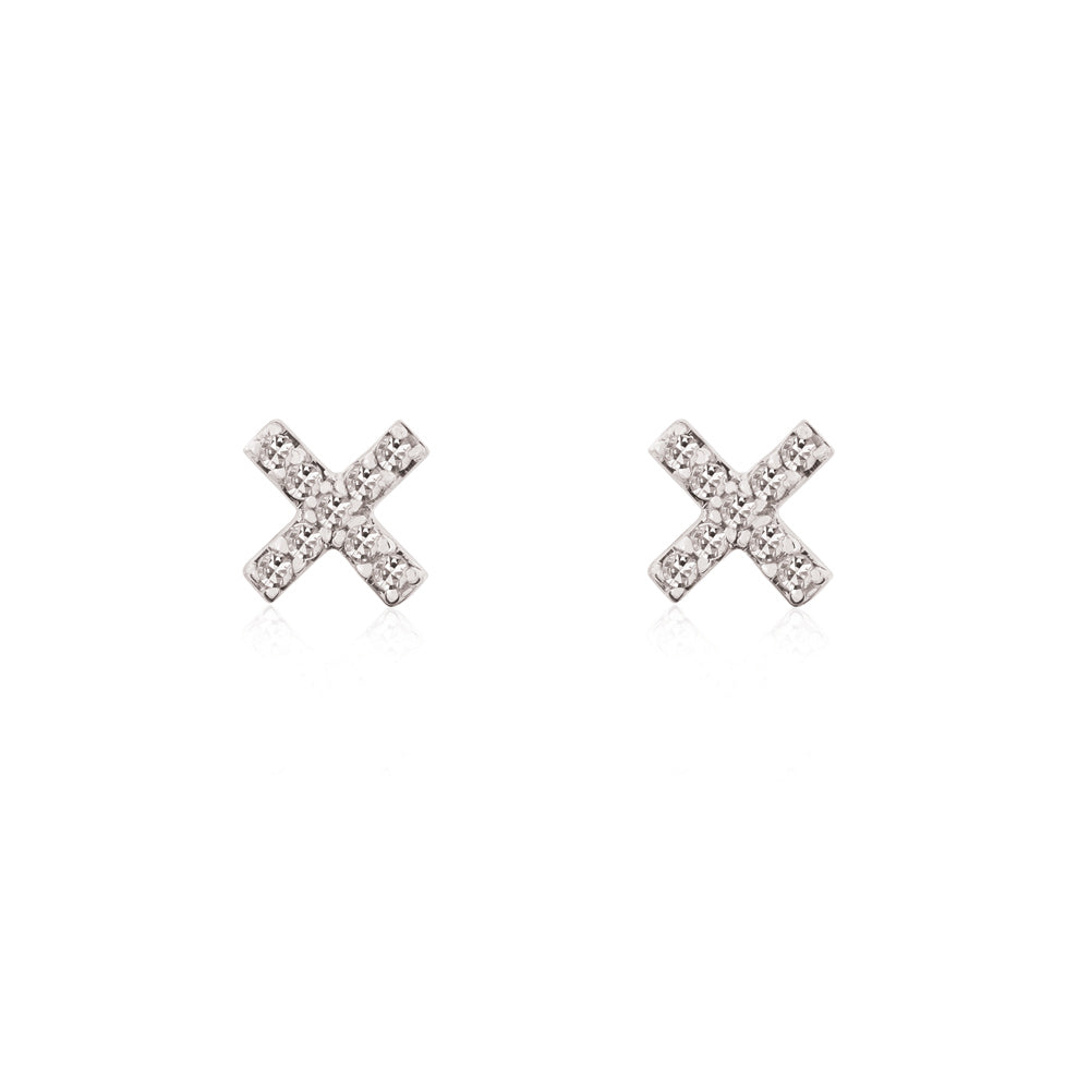 Cross White Diamond Stud Earrings - 9K White Gold