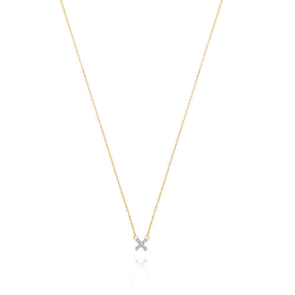 Diamond Cross Necklace - Yellow Gold