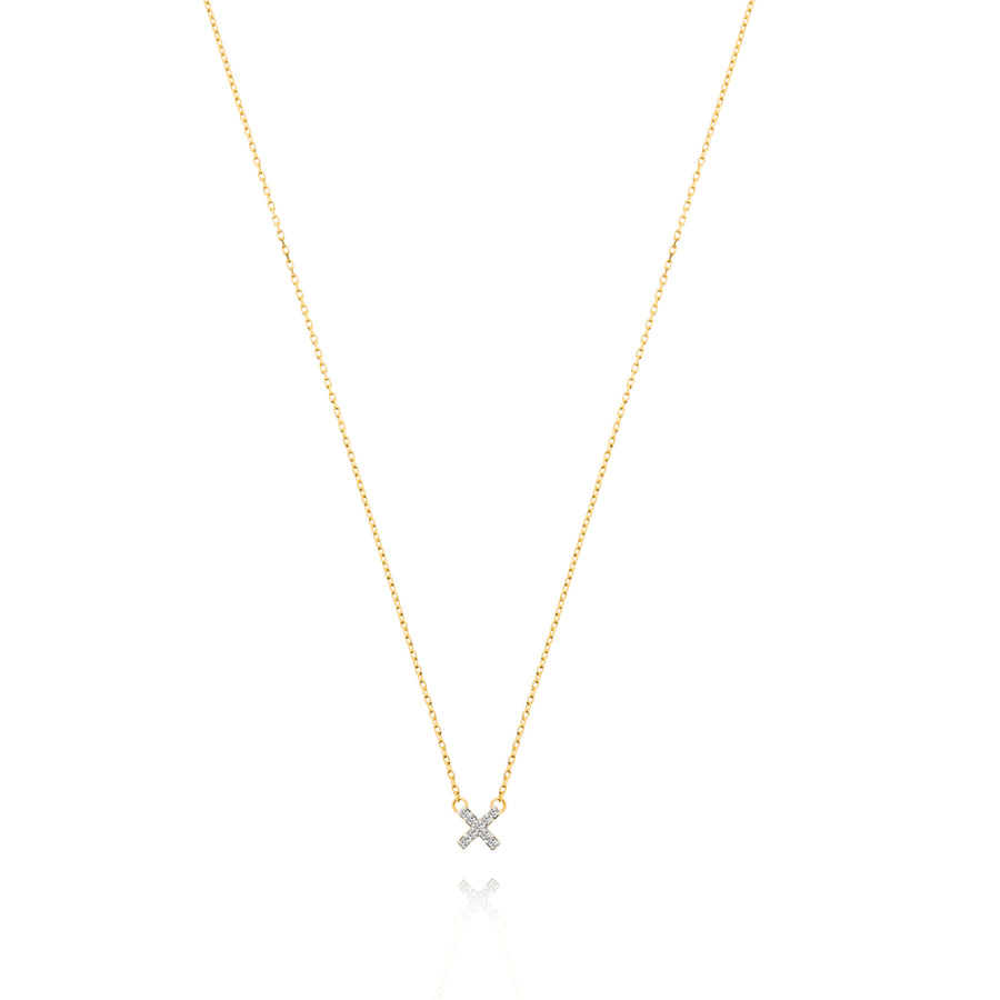 Diamond Cross Necklace - 9k
