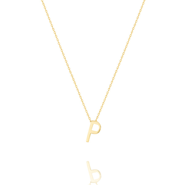 P Letter Necklace - Yellow Gold Plated Sterling Silver