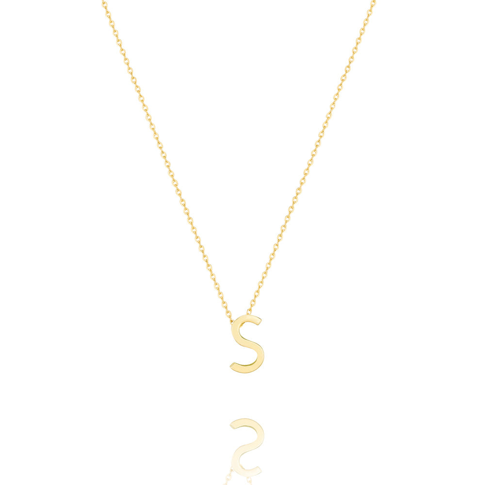 S Letter Necklace - Yellow Gold Plated Sterling Silver