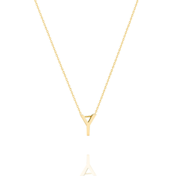 Y Letter Necklace - Yellow Gold Plated Sterling Silver