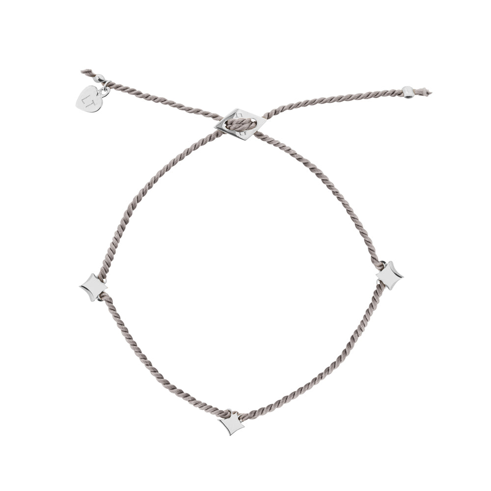 Night Star Silk Bracelet Grey - Sterling Silver