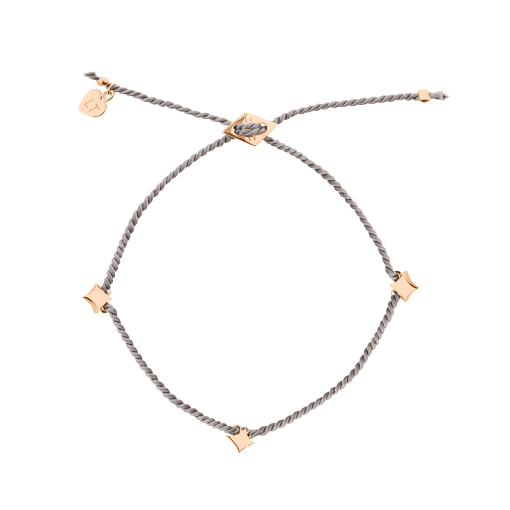 Night Star Silk Bracelet Grey - Rose Gold Plated Sterling Silver