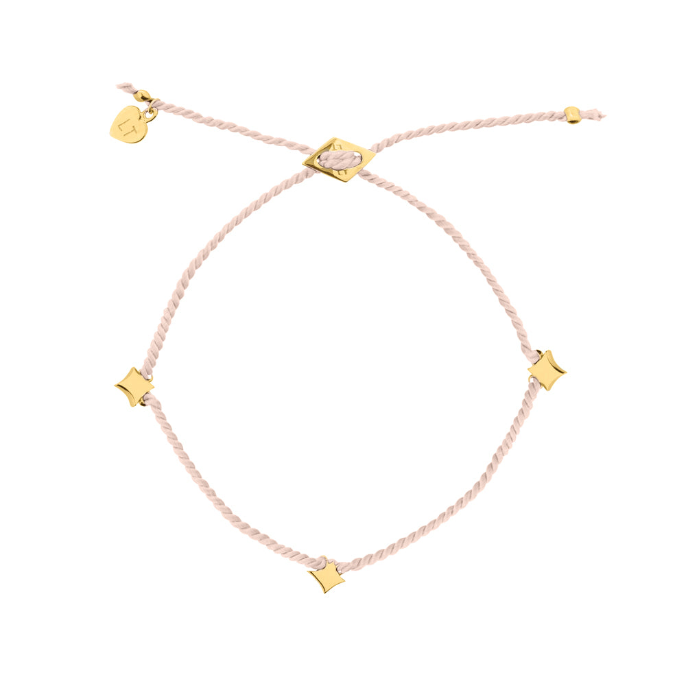 Night Star Silk Bracelet Blush - Yellow Gold Plated Sterling Silver