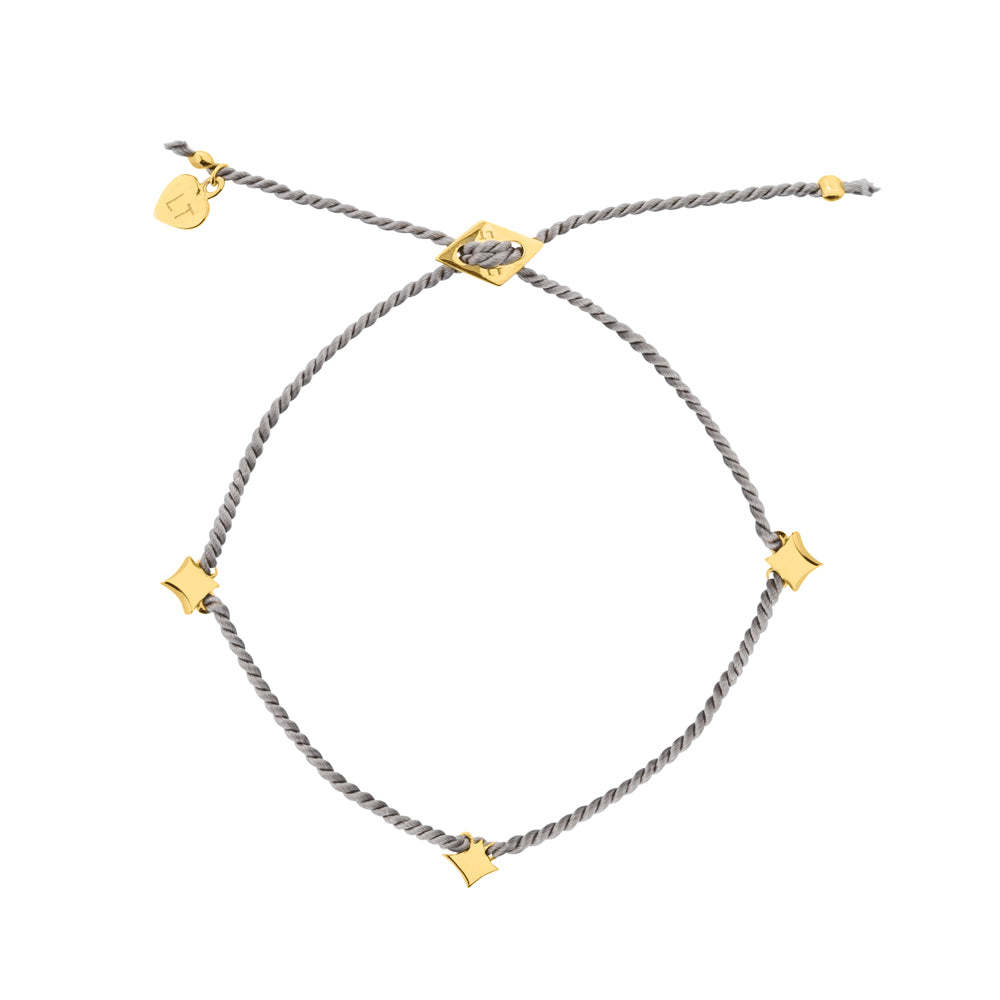 Night Star Silk Bracelet Grey - Yellow Gold Plated Sterling Silver