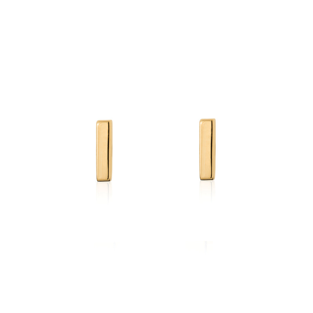 Mini Bar Stud Earrings - Yellow Gold Plated Sterling Silver