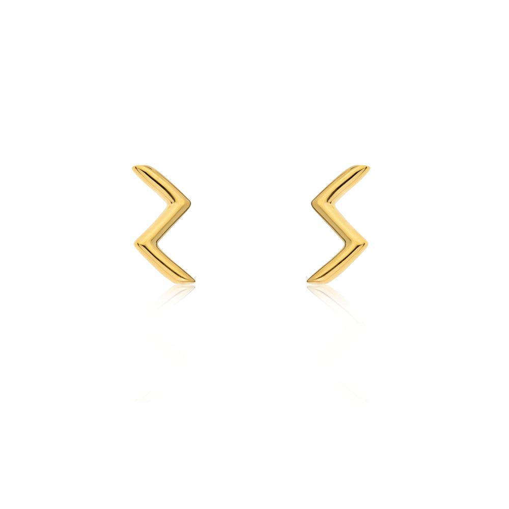 Zig Zag Stud Earrings - Yellow Gold Plated Sterling Silver