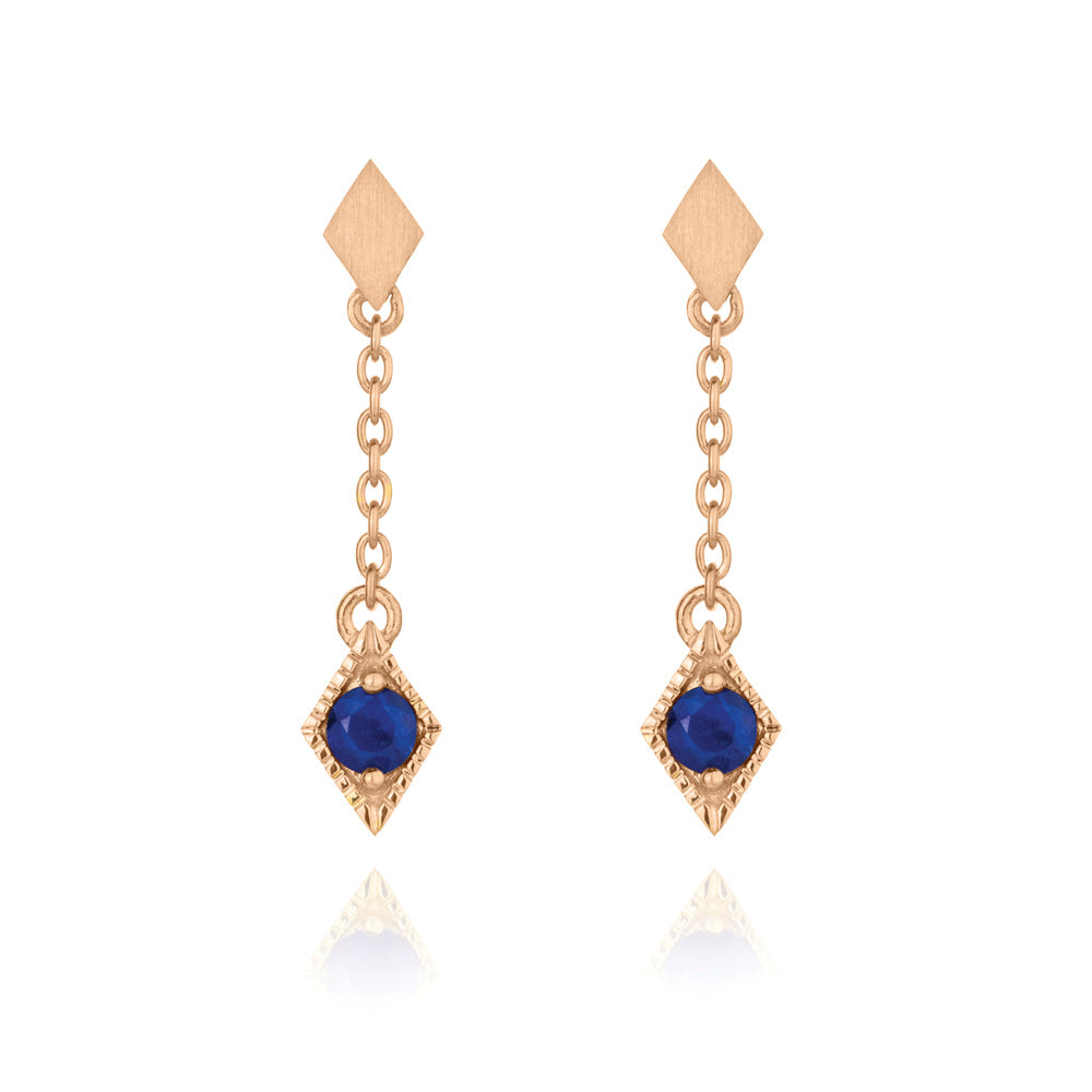 Into The Dusk Drop Earrings Lapis Lazuli - Rose Gold Plated Sterling Silver