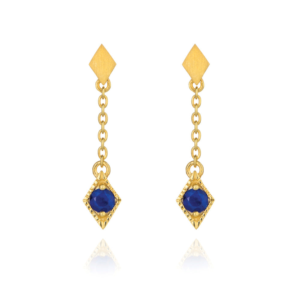 Into The Dusk Drop Earrings Lapis Lazuli - Yellow Gold Plated Sterling Silver
