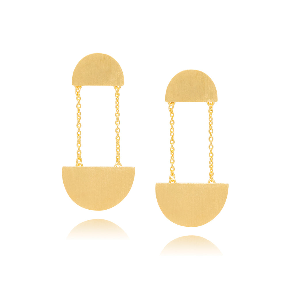 Hemisphere Earrings - Yellow Gold Plated Sterling Silver