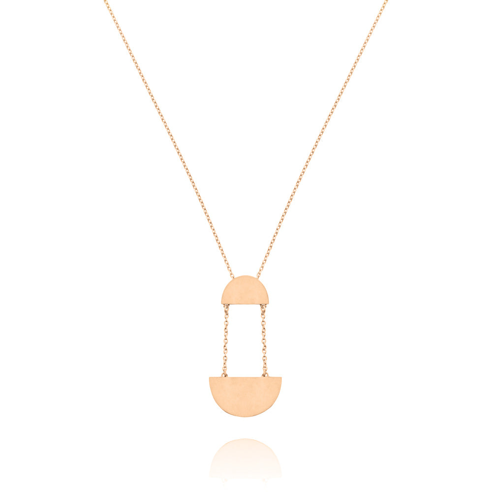 Hemisphere Necklace - Rose Gold Plated Sterling Silver