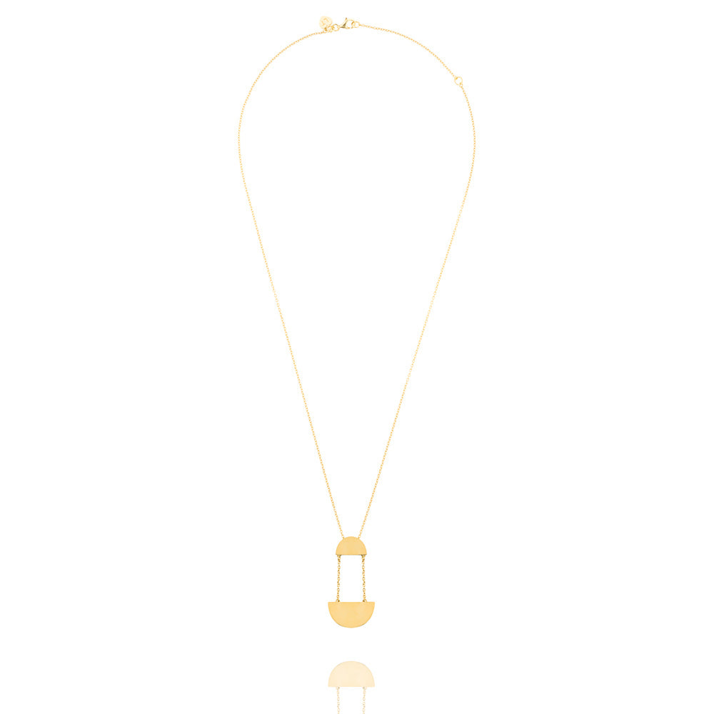 Hemisphere Necklace - Yellow Gold Plated Sterling Silver