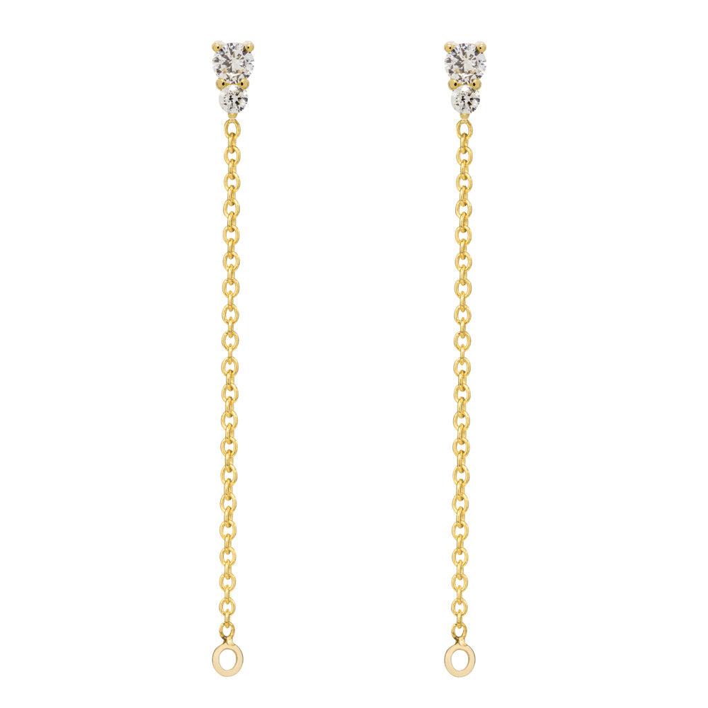 Binary Diamond Chain Earrings - 9K Yellow Gold