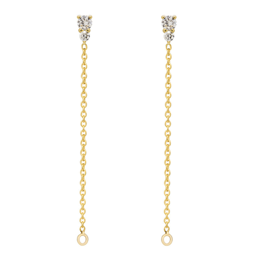 Binary Diamond Chain Earrings - 9k