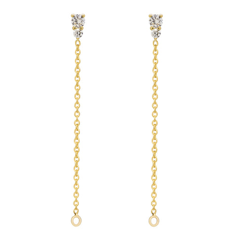 Binary Diamond Chain Earrings - Yellow Gold