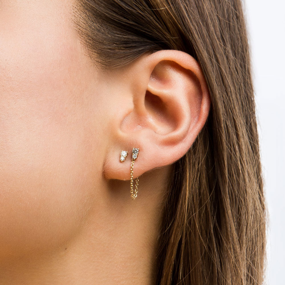 Binary Diamond Stud Earrings - 9K Yellow Gold