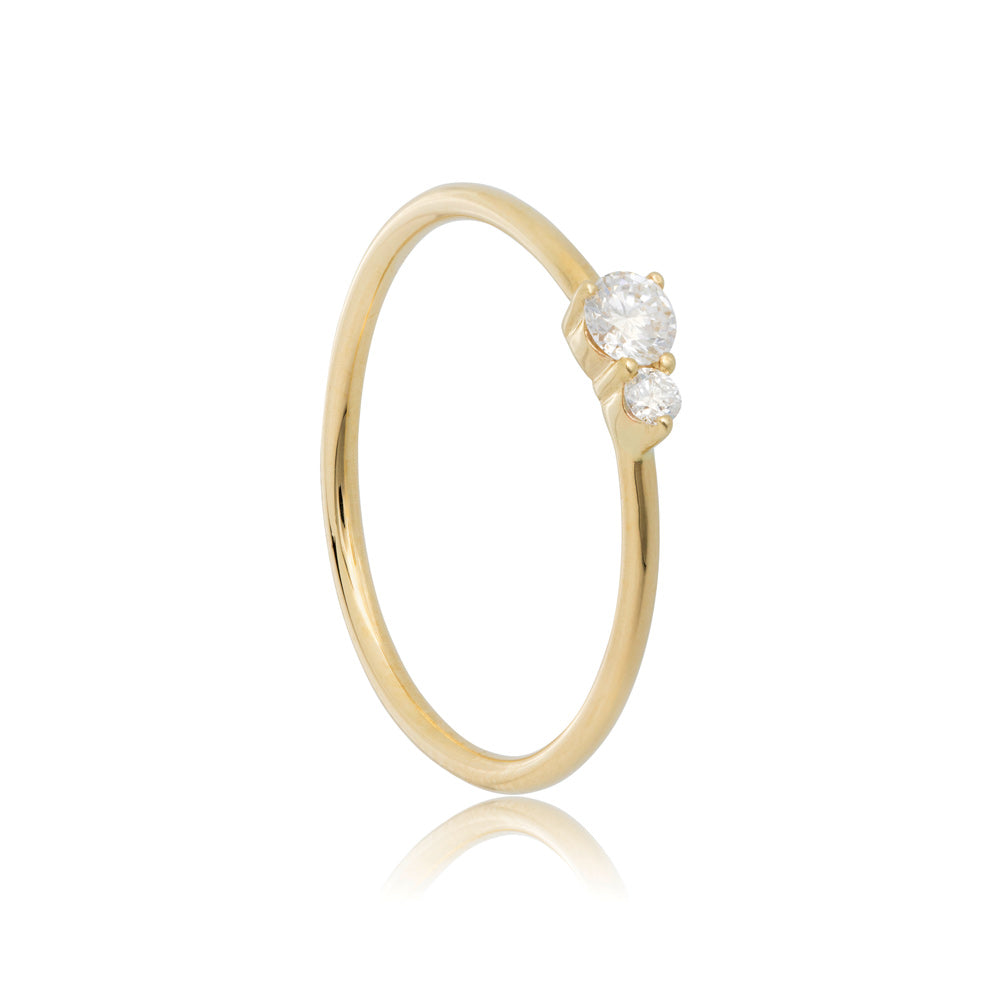 Binary Diamond Ring - 9K Yellow Gold