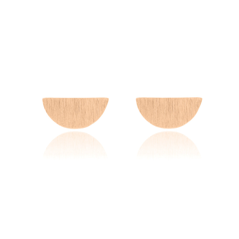 Hemisphere Stud Earrings - Rose Gold Plated Sterling Silver
