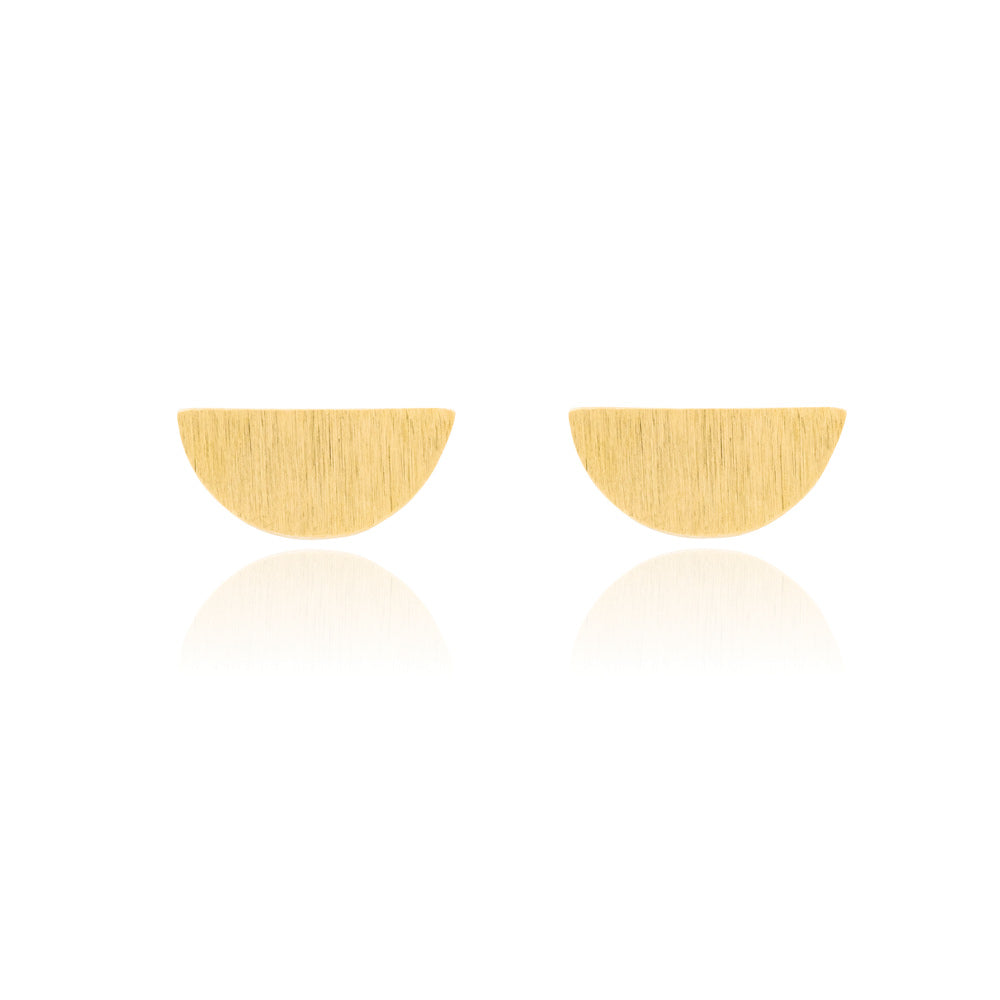 Hemisphere Stud Earrings - Yellow Gold Plated Sterling Silver