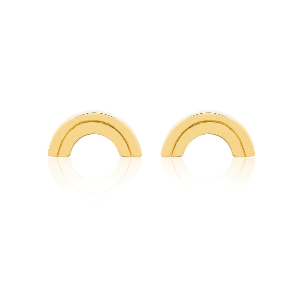 Rainbow Stud Earrings - Yellow Gold Plated Sterling Silver