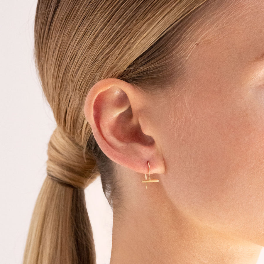 Mini T-Bar Hook Earrings